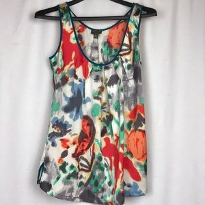 Anthropologie FEI Colorful Abstract Print Top SZ S